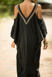 Black And Gold Kaftan Evening Dress