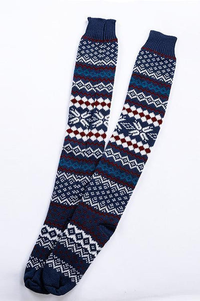 Christmas Print Over Knee Sock
