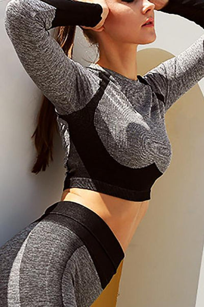 Color Block Crop T Shirt Leggings Set