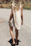 Linen O Neck Sleeveless Mini Dress