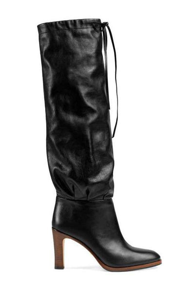 Drawstring High Heel Boots