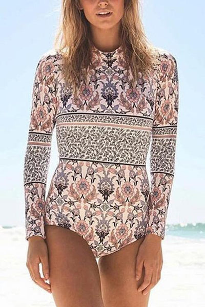 Print Long Sleeve One Piece Swimwear