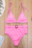 Solid High Waist Bikini Set With Belt
