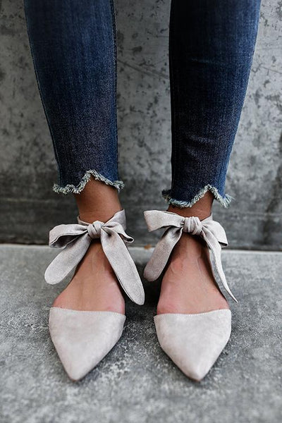 Pointed Toe Lace-up Flats Sandals