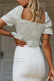 Floral Print Square Neck Crop Top