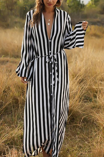 Single-breasted Stipe Shirt Dress