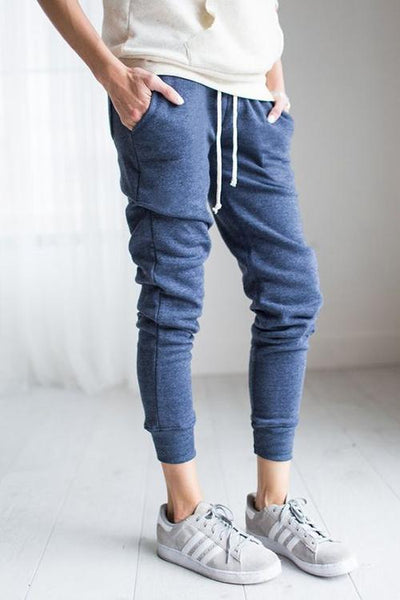 Brushed Drawstring Pockets Pants