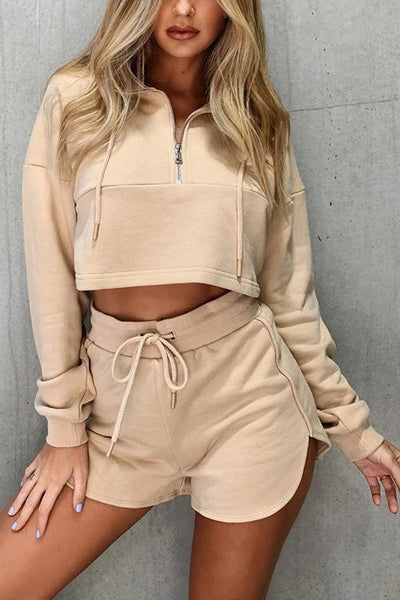 Zipper Drawstring Hoodie Shorts Set