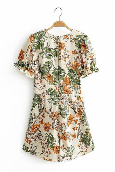 Flower Print Deep V Neck Backless Romper