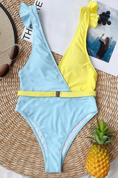 Ruffles Color Block One Pieces Swimwear