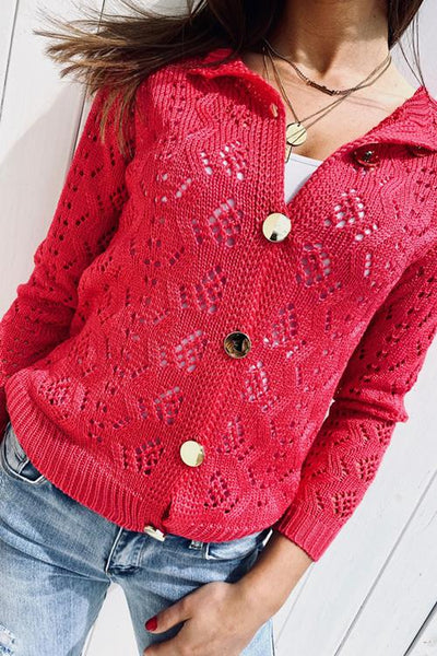 Hollow Button Cardigan