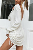 U Neck Drawstring Long Sleeve Mini Dress