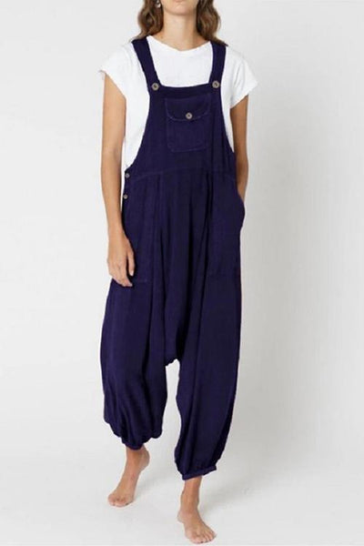 Drop-crotch Side Button Jumpsuit