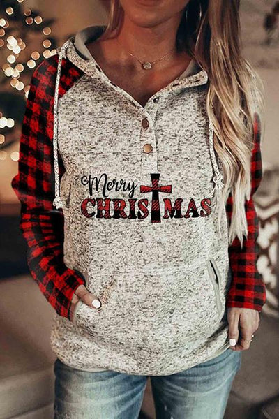 CHRISTMAS Print Button Pockets Hoodie
