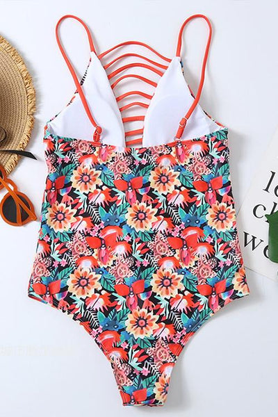 Floral Print Hollow One Piece Swimwear