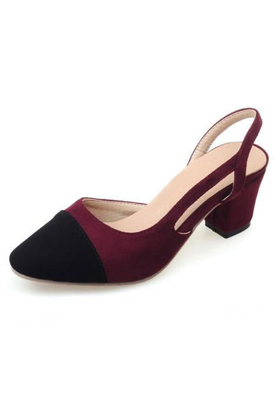 Color Block Chunky Heel Pumps