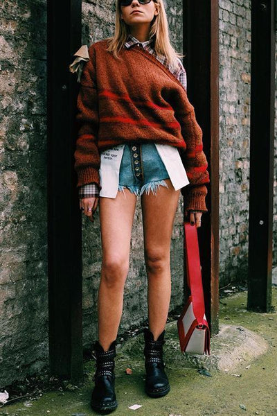 Letter Pockets Denim Shorts