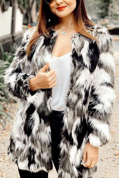 Mix Color Faux Fur Coat