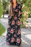Floral Print V Neck Long Sleeve Maxi Dress