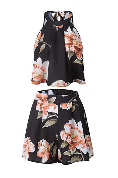 Floral Print Halter Neck Short Set