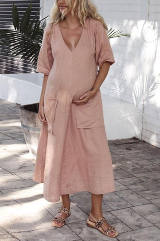 Solid V Neck Pockets Linen Maxi Dress