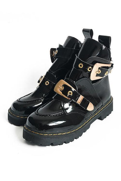 Hollow Leather Buckle Martin Boots