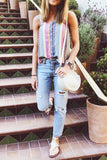 Colorful Striped Button Tank Top