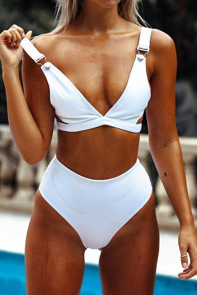 Solid Hollow High Waist Bikini Set