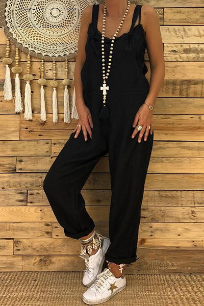 Strap Pockets Sleeveless Jumpsuit