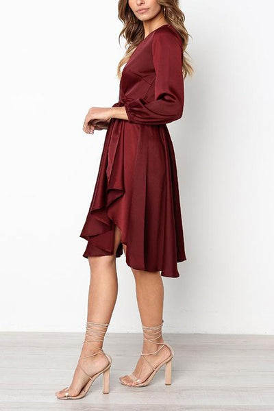 Solid V Neck Warp Dress