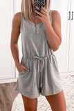 Button Pockets Drawstring Romper
