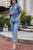 Lapel Pockets Slim Denim Jumpsuit