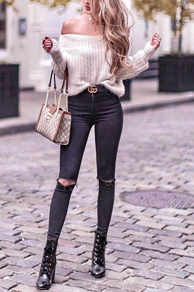 Off Shoulder Puff Sleeve Sweater