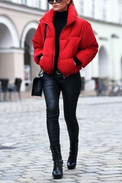 Stand Collar Zipprt Puffer Coat