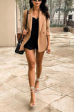 Coffee Pockets Button Lapel Blazer
