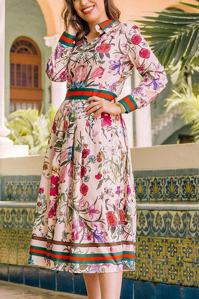 Button Floral Print Long Sleeve Pleated Dress