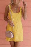 Solid Sleeveless Overall Mini Dress