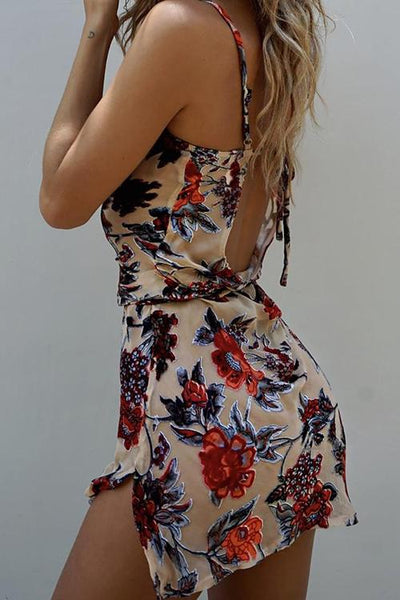 Floral Print Slip Mini Dress