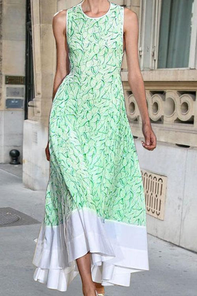 Leaf Print Sleeveless Maxi Dress