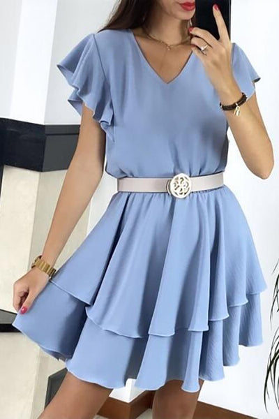 Ruffles V Neck Mini Dress