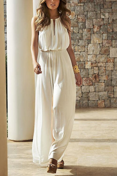 Solid Sleeveless Wide Leg Swing Jumpsuits