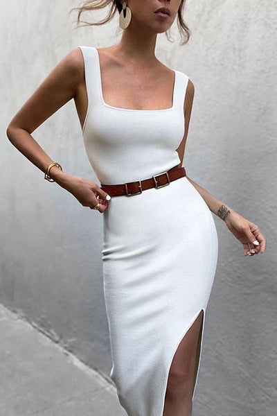 Square Neck Sleeveless Slit Dress