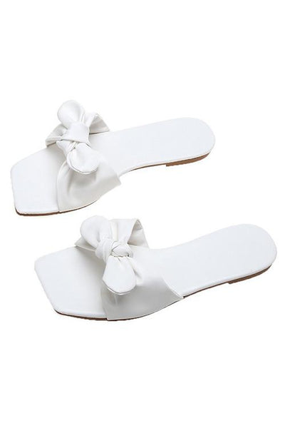 Bow Square Neck Flat Slipper