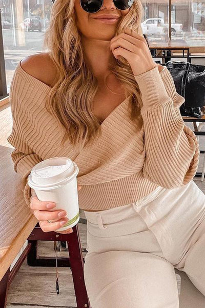 V Neck Backless Crop Sweater