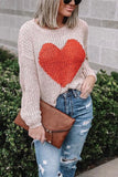 Red Heart O Neck Sweater