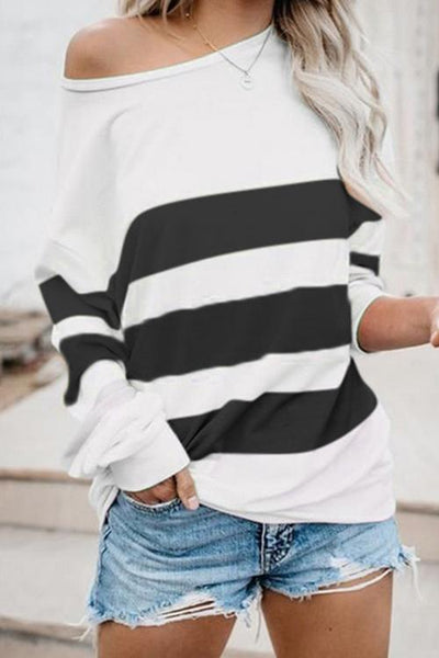 Dew Shoulder Stripe Long Sleeve T Shirt