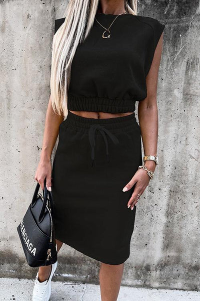 Drawstring Crop Skirt Set