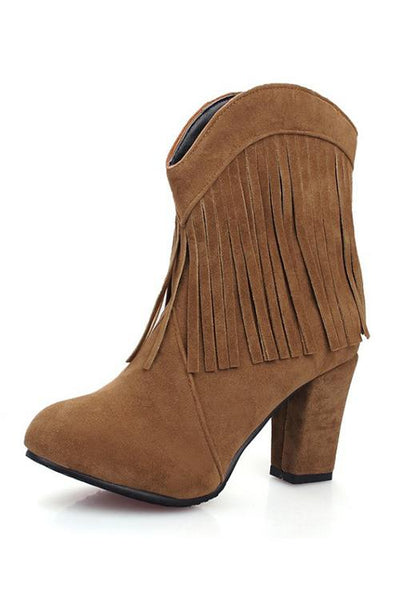 Tassels Chunky Heels Slip On Ankle Boots