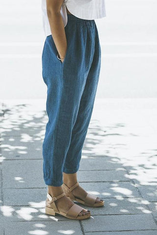 Linen Pockets Elastic Waist Pants