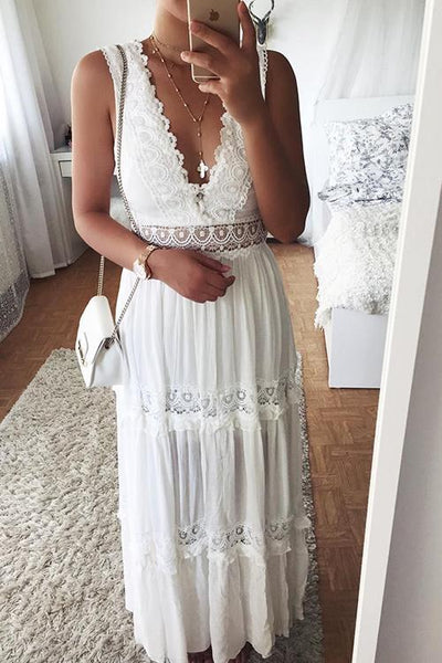 Lace V Neck Sleeveless Maxi Dress